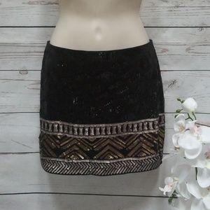 Express black sequin tribal print mini skirt